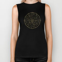 Metallic Gold Vintage Star Map 2 Biker Tank