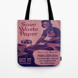 Vintage poster - Save Waste Paper Tote Bag