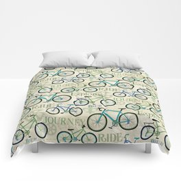 Bicycle Journey Blue Comforters