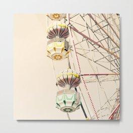 Yellow and Green Ferris wheel on Cream Sky  Metal Print