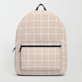 Champagne pink - pink color - White Lines Grid Pattern Backpack