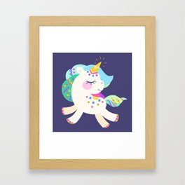 Cute unicorn with colorful mane and tail Framed Art Print