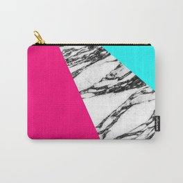 Modern Pink Teal Black White Marble Geometric Tricut Carry-All Pouch