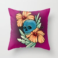 hibiscus Throw Pillows featuring Hibiscus by kellyhalloran