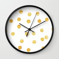 gold dots Wall Clocks featuring Gold Dots by SPACE317