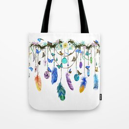 Folkestone Feather, Crystal And Butterfly Spirit Gazer Tote Bag