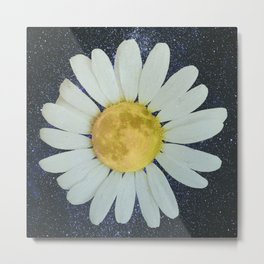 Galaxy Moon Daisy Metal Print
