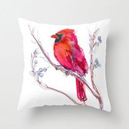Watercolor of a Cardinal Throw Pillow