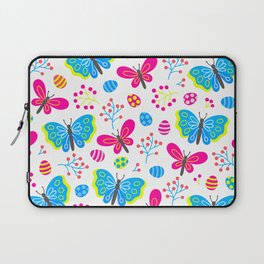 Easter Blue and Pink Butterfly Pattern Laptop Sleeve