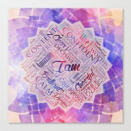 I am Affirmations Word Cloud Art in lotus Canvas Print