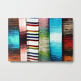 Abstract Of Colorful Knitted Textile Metal Print