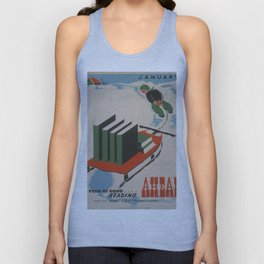 Vintage poster -  A Year of Good Reading Ahead Unisex Tank Top