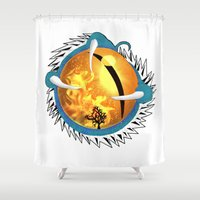skyfall Shower Curtains featuring Skyfall Dragon's Eye by Pr0l0gue