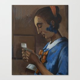 After: Woman in Blue Reading a Letter. Canvas Print