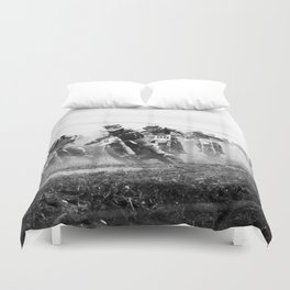 Motocross black white Duvet Cover