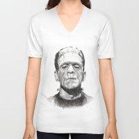 frankenstein V-neck T-shirts featuring Frankenstein by calibos