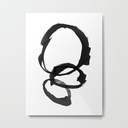 Black and White Round Abstract Shapes Minimalist Ink Painting Metal Print