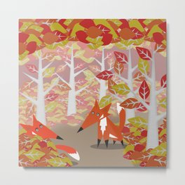 Foxes at Play Metal Print