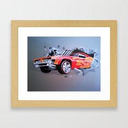 Car Crashing Through the Wall Framed Art Print