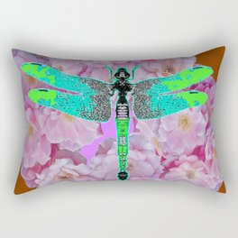 EMERALD DRAGONFLY PINK ROSES COFFEE BROWN Rectangular Pillow