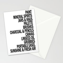 What a Plein Air Oil Painter Needs for a Perfect Day... Stationery Cards