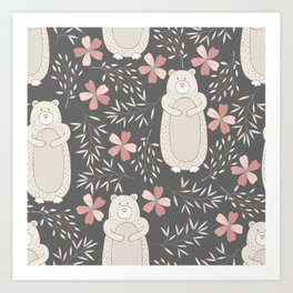 Bear and Flowers Art Print