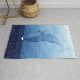 Whale blue ocean Rug
