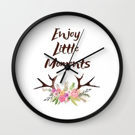 Deer Antlers with flowers , quotes , inspirational quote Wall Clock