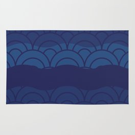 Oriental Blue Abstract Pattern with Lines and Waves Rug