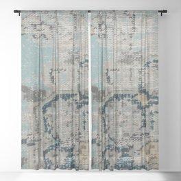 Aqua and Gray Vintage Kilim Square Sheer Curtain