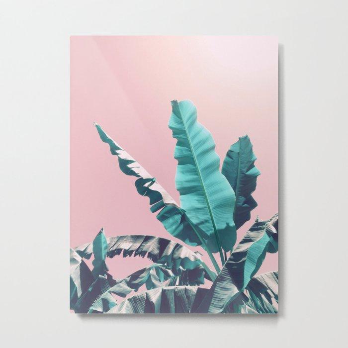 Bananas Leaves on Pink Metal Print