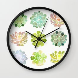 Spring Succulents Wall Clock