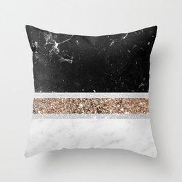 Black and White Marble Gold Glitter Stripe Glam #1 #minimal #decor #art #society6 Throw Pillow