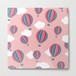 Hot air balloons and clouds - baby pink Metal Print