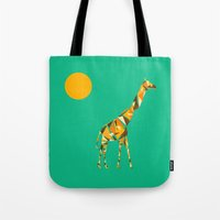 giraffe Tote Bags featuring Giraffe  by fly fly away