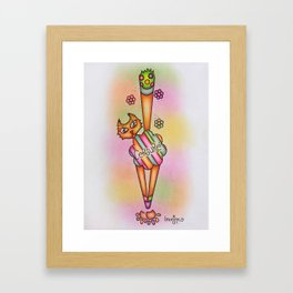 Cat's Little Hidden Behind Framed Art Print