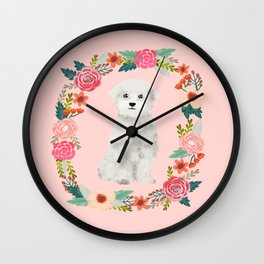 maltese floral wreath dog breed pet portrait pure breed dog lovers Wall Clock