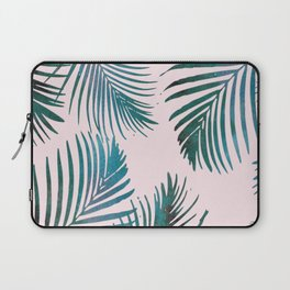 Green Palm Leaves on Light Pink Laptop Sleeve