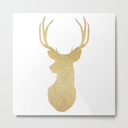 Gold Glitter Reindeer Metal Print