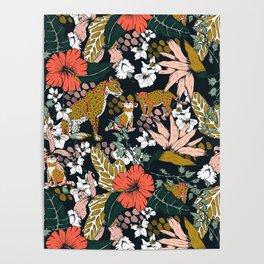 Animal print dark jungle Poster