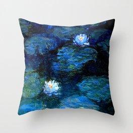 monet water lilies 1899 Blue teal Throw Pillow