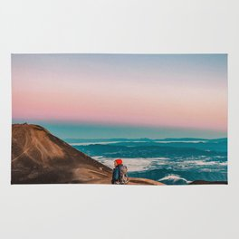 Pastel glow in the sunrise sky Rug