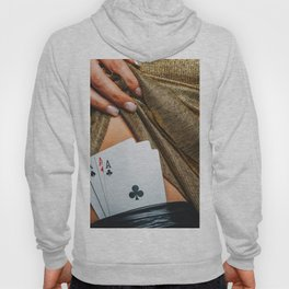 Sexy lady in golden color dress with poker cards combination over black stocking legs Hoody