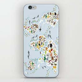 Cartoon animal world map for children and kids, Animals from all over the world, back to school iPhone Skin