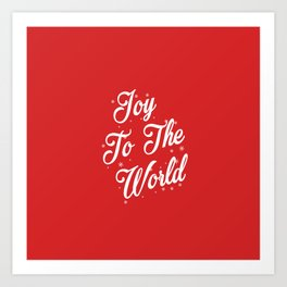 Joy To The World Christmas Red Background Art Print