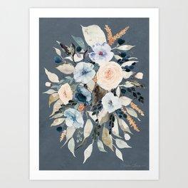 Loose Watercolor Bouquet on Blue Art Print