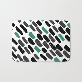 Oblique dots black and white green Bath Mat