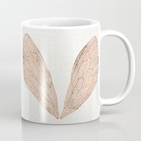 rose gold Mugs featuring Cicada Wings in Rose Gold by Cat Coquillette