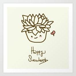 Happy Succulent Art Print