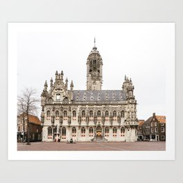 Gothic city hall of Middelburg, the Netherlands, travel photography Art Print